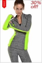 Brushed Heather Pullover Jacket (Heather & Kiwi) by Hard Tail Forever