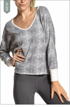 Brushed Reptile Slouchy V Neck (Black/Cream Snake Skin) by Hardtail