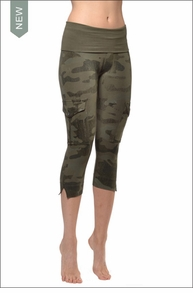 Contour Roll Down Crop Cargo (W-448, Olive) by Hard Tail Forever
