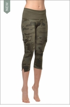 Contour Roll Down Crop Cargo (W-448, Olive Camo) by Hard Tail Forever