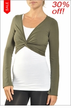 Cropped Bell Sleeve Cardigan (Olive) by Hardtail Forever