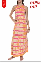 Cross Front Maxi Dress (Sherbert Electric Lines) by Hard Tail Forever