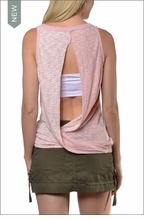 Double Play Back Twist Tank (PLAY-01, Camen Pink) by Hardtail