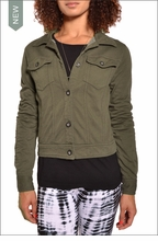 Fitted Faux Jean Jacket (Olive) by Hardtail Forever
