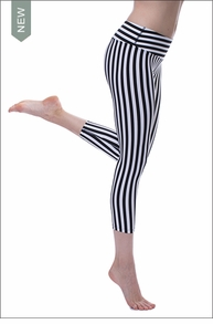 Flat Waist Capri (SUPBW-08, Black/White Stripes) by Hard Tail Forever