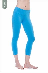 Flat Waist Capri (W-374, Bay Blue) by Hard Tail Forever