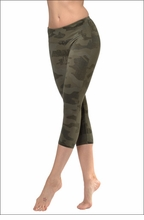 Flat Waist Capri (W-374, Olive Camo) by Hard Tail Forever