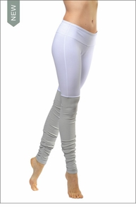 Goddess Ribbed Legging (White / Vapor Gray) by Alo Yoga