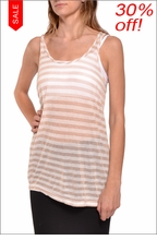 Gold Striped Racer Back Tank  by Hard Tail Forever