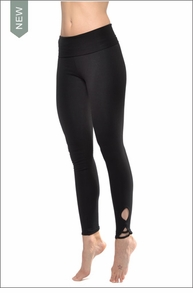 Hard Tail Forever Contour Roll Down Fleur De Lis Ankle Legging (W-627, Black)