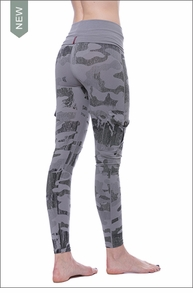 Hard Tail Forever Roll Down Cargo Ankle Legging (W-443, Monochromatic Gray Camo)