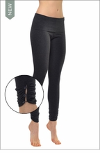 Hard Tail Forever Contour Roll Down Shirred Ankle Legging (Dark Charcoal)