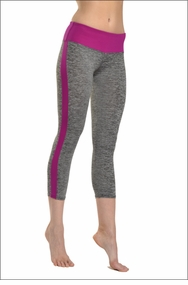 Hardtail Brushed Heather Flat Waist Capri (Heather Gray & Berry)