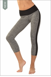 Hardtail Brushed Heather Flat Waist Capri (Heather Gray & Black)