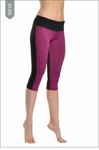 Hardtail Brushed Heather Flat Waist Capri w/Black Back (Berry & Black)