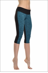 Hardtail Brushed Heather Flat Waist Capri w/Black Back (Turquoise & Black)