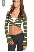 Hardtail Cropped Bell Sleeve Hooded Cardigan (Lucky Shamrock Tie-Dye)