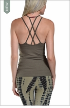 Double Cross Tank with Bra (Olive) by Hardtail