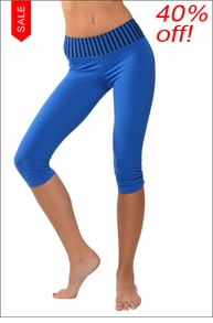 Hardtail Flat Contour Waist Triangle Capri (Black & Sapphire Stripes)