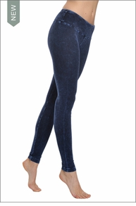 Hardtail Flat Waist Ankle Legging (Dark Blue Mineral Wash)