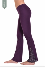 Hardtail Flat Waist Flare Pant w/Lace Inset (Concord Grape)