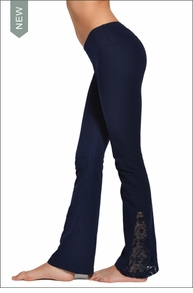 Hardtail Flat Waist Flare Pant w/Lace Inset (Night Owl)