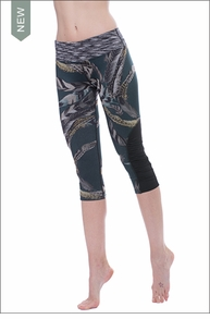 Hardtail Flat Waist Saddle Back Capri (FEAT-07, Forest Green / Feathers / Space Dye)
