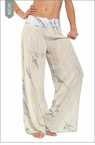 Hardtail Flat Waist Wide Leg Pant (Neutral Lizard Tie-Dye)