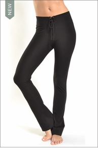 Hardtail High Waisted Lace Up Skinny Flares (Black)