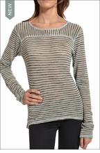 Hardtail Knit High-Low Crew Neck (Brown & Blue Striped)