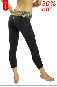 Hardtail Leopard Print Supplex Flat Waist Capri
