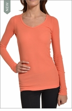 Hardtail Long Sleeve V-Neck Thermal (Coral)