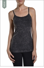 Long spaghetti tank with Bra (Black Mineral Wash) by Hardtail