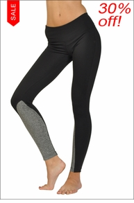Hardtail Polyester Flat Waist Ankle Legging (Black & Brushed Heather Gray)