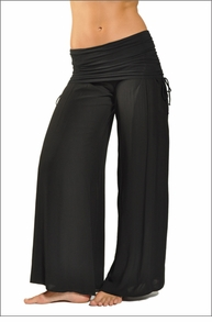 Hardtail Side Ruched Boho Pant (Black)