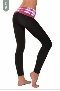 Hardtail Razor Back Roll Down Ankle Legging (Magenta Electric Lines & Black)