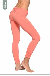 Hardtail Razor Back Roll Down Side Shirred Ankle Legging (Coral)