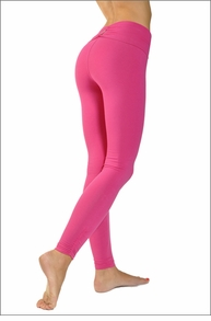 Hardtail Razor Back Roll Down Side Shirred Ankle Legging (Punch Pink)