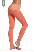 Hardtail Razor Back Roll Down Side Shirred Crops (Coral)