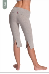 Hardtail Roll Down Capri w/Back Slit (Heather Gray)