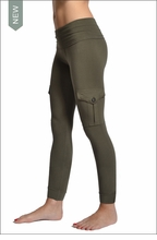 Hardtail Roll Down Cargo Ankle Leggings (Olive)