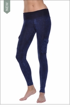 Hardtail Roll Down Mineral Wash Cargo Ankle Leggings (Dark Blue)