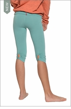 Hardtail Roll Down Shirred Button Back Knee Legging (Bottle)