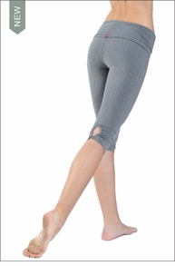 Hardtail Roll Down Shirred Button Back Knee Legging (Charcoal)