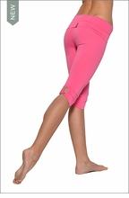 Hardtail Roll Down Shirred Button Back Knee Legging (Hibiscus)