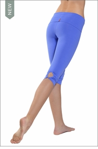 Hardtail Roll Down Shirred Button Back Knee Legging (Morning Glory)