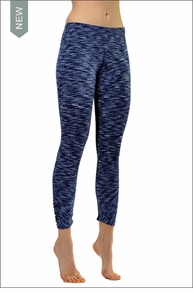 Hardtail Ruched Flat Waist Capri (Navy Space Dye & Black)