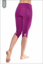 Hardtail Shirred Button Back Knee Legging (W-389, Berry)