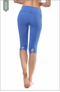 Hardtail Shirred Button Back Knee Legging (W-389, Iris)