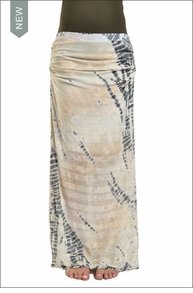 Hardtail Shirred Maxi Skirt (Neutral Lizard Tie-Dye)